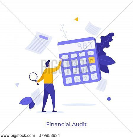 Man Holding Magnifying Glass And Using Calculator. Concept Of Financial Audit Or Professional Accoun