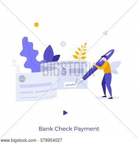 Man Holding Pen And Signing On Bank Document. Concept Of Check Payment Method, Financial Or Banking