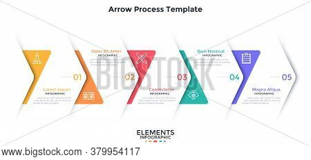 Process Chart With 5 Overlaying Paper White Arrows Placed In Horizontal Row. Concept Of Five Steps O