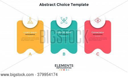 Three Separate Colorful Abstract Rectangular Elements Placed In Horizontal Row. Concept Of 3 Service