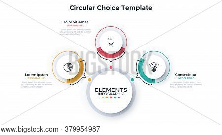 Modern Scheme With 3 Paper White Round Elements With Arrows Pointing At Main Circle. Concept Of Thre