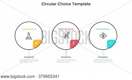 Three Round Elements Placed In Horizontal Row. Concept Of 3 Features Of Startup Project To Choose. S