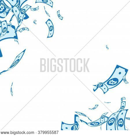Bitcoin, Internet Currency Notes Falling. Messy Btc Bills On White Background. Cryptocurrency, Digit