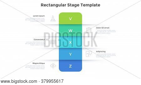 Five Colorful Rectangular Elements Placed One Above Other. Concept Of 5 Levels, Grades Or Stages Of