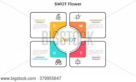 Swot Flower Diagram With 4 Colorful Petals. Concept Of Advantages And Disadvantages Of Company. Flat