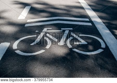 Bicycle Trail, Path Sign Painted White On Asphalt