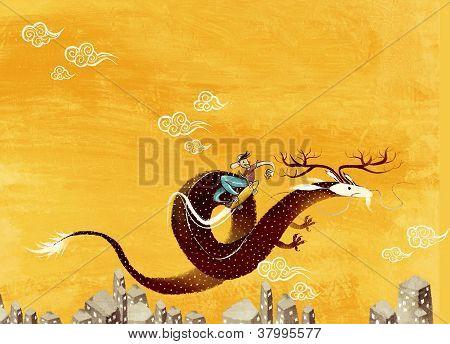 boy on skateboard and dragon