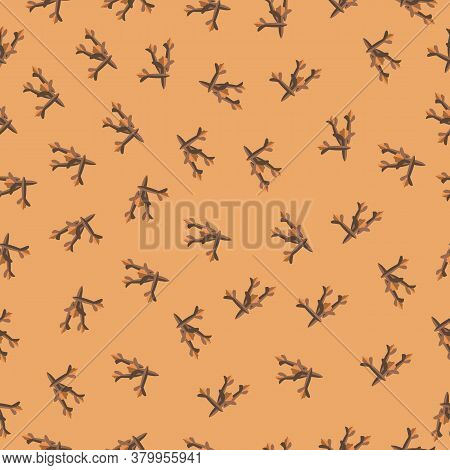 Abstract Clove Pattern On Beige Background. Vector Endless Testwork For Fabric, Paper And Tile Decor