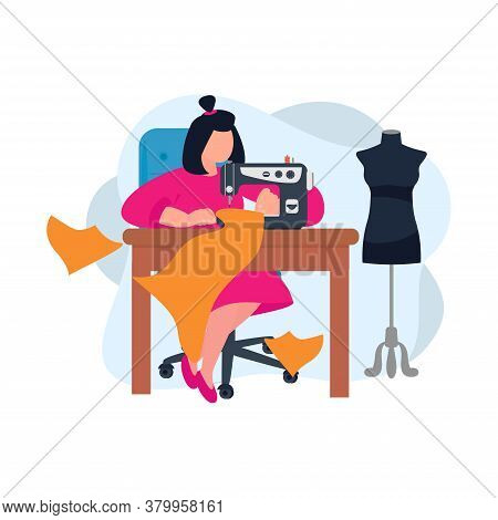 Seamstress. Tailor. Illustrations Of Sewing Equipment And Sewing Workshop. Create Outfit On Sewing M