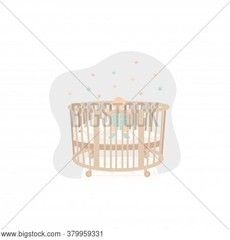 Cute Baby Standing In Crib. Newborn In Jumpsuit. Vector Illustration For Banner, Poster, Greeting Ca