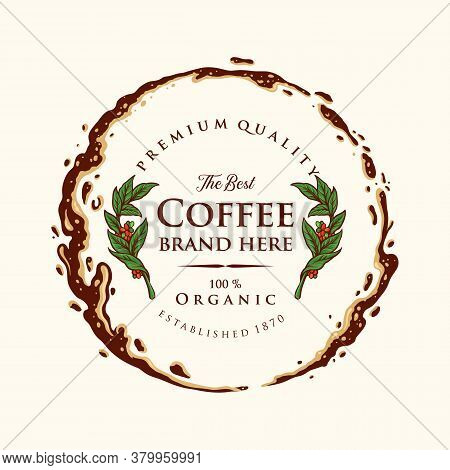 Badge Coffee Label Premium Ring Splashed Illustrations For Coffee Shop Logo And Cafe