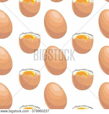 Egg Seamless Pattern. Cartoon With Simple Gradient Design. Boiled And Whole Eggs. Breakfast Symbols.