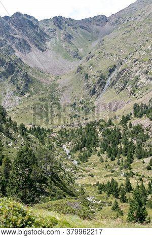 Mountain In Andorra Pyrenees, La Massana, Refugi De Coma Pedrosa, Andorra.