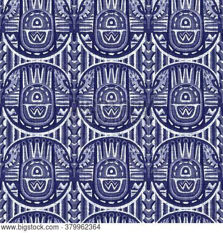 Seamless Indigo Doodle Dot Texture. Blue Woven Boro Cotton Dyed Effect Background. Japanese Repeat B