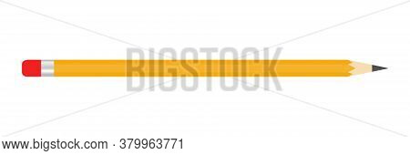 Pencil Write With A Red Rubber Band Icon Isolated On The White Background. Vector Illustration. Educ