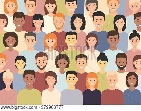 Diverse Multicultural Group Of People Standing Together (europian, Asian, American). Human Social Di