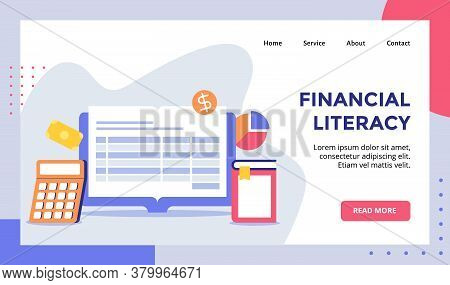 Financial Literacy Monitor Computer Campaign For Web Website Home Homepage Landing Page Template Ban