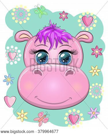 Cute Muzzle Cartoon Hippo With Beautiful Eyes Among Flowers, Hearts. Print T-shirts, Baby Clothes Fa