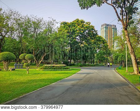 A Jogging Track In A Garden Of Public Park Among Greenery Trees,  Shrub And Bush, People Wearing Col