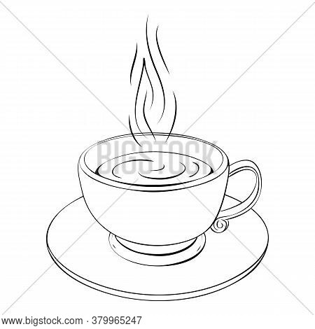 Hot Coffee Cup Or Teacup Line Drawing Isolated On White. Coffee Break Or Tea Sketch Icon. Outline Il