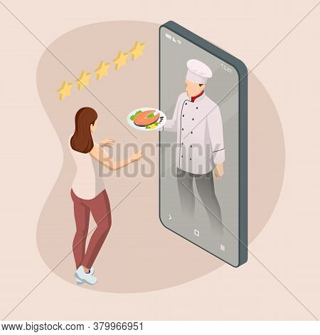 Isometric Online Cooking Classes Concept. Online Ordering Food In A Restaurant