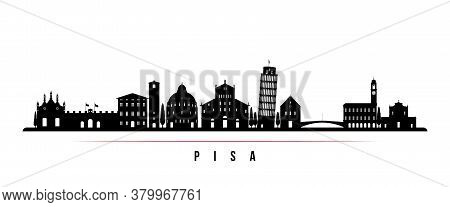 Pisa Skyline Horizontal Banner. Black And White Silhouette Of Pisa, Italy. Vector Template For Your