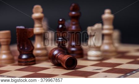 Chess Game, Check Or Checkmate, Cut A Figure, The Concept Of Competition In Business. Black And Whit