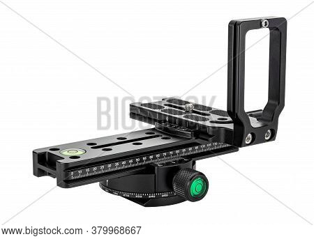 Assembling Panoramic Tripod Rotary Head With Nodal Slide Rail And Dslr Camera L-bracket Isolated On
