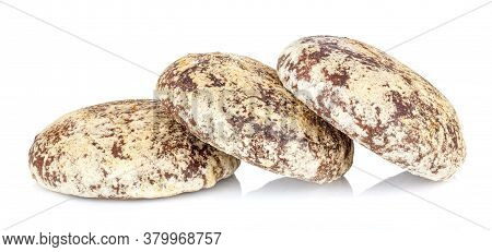 Three Gingerbread Cookies Isolated On A White Background