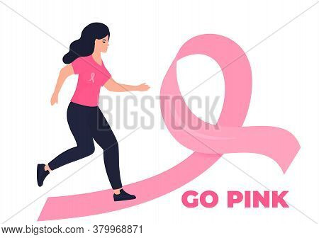 Woman Running Marathon On A Pink Ribbon Road In Support Of Breast Cancer Patients. October Awareness