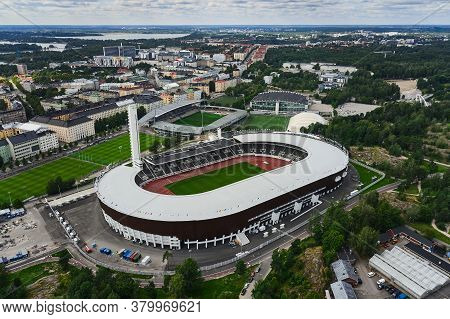 Arial View Of The Helsinki Olympic Stadium After Renovation.