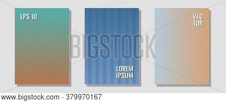 Cool Flyers Set, Vector Halftone Poster Backgrounds. Elegant Patchy Mockups. Zigzag Halftone Lines W