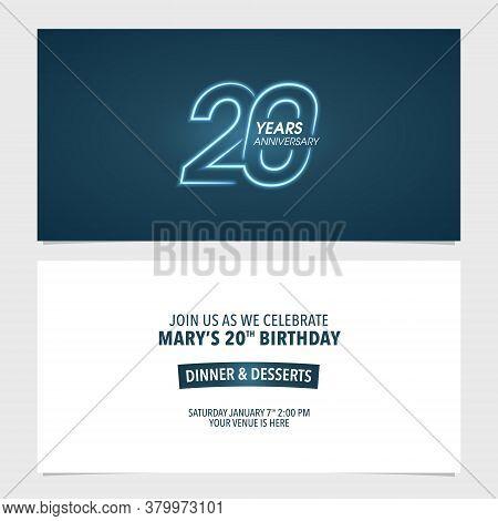 20 Years Anniversary Invitation Vector Illustration. Template Design Element For 20th Birthday