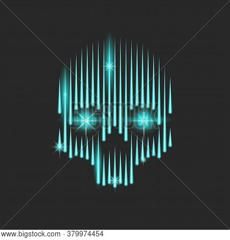 Neon Bright Human Skull With Blue Sparks In The Burning Eyes, A Frightening Skull Silhouette With Ra
