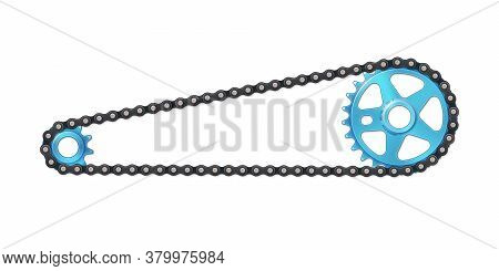 Drivetrain Bicycle Bmx. Blue Sprocket With Anodized Metal Effect, Cogwheel And Black Chain. Vector I