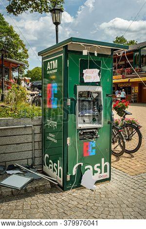 Titisee-neustadt, Baden-württemberg, Germany - July 28 2020 : Exploded And Destroyed Cash Dispenser