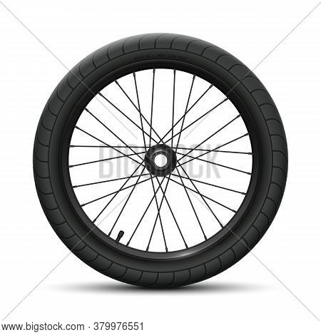 Black Rear Wheel Bicycle Bmx. Sports Tire With Universal Road Tread And Marking, Rim, Spokes, Valve