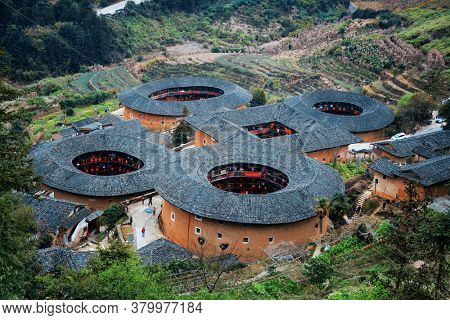 Traditional Tulou building is the unique dwellings of Hakka in Fujian, China.