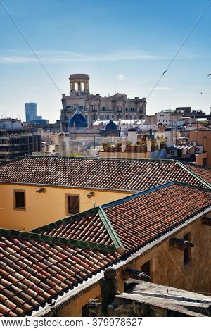 Barcelona rooftop view with city architecture in Spain