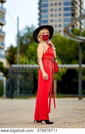 Woman Wearing Trendy Fashion Outfit During Quarantine Of Coronavirus