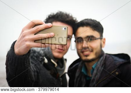 Gaziantep, Turkey 01june 2018:\ntwo Young Men Take A Selfie And Smile At The Camera