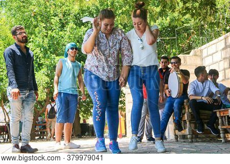 Istanbul, Turkey 10 April 2019:\\na Group Of Boys Dancing Together, Creating An Atmosphere Of Pleasu