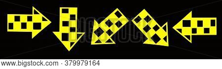 Set Of Fluorescent Yellow Arrows In Different Directions On Black Background For The Design Of Websi