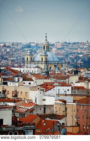 Madrid rooftop view of the city skyline and Royal Basilica of San Francisco el Grande in Spain.