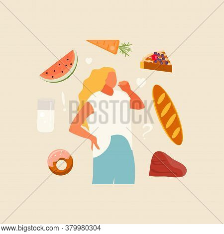 Girl Chooses Food. Intuitive Food Concept Vector Illustration