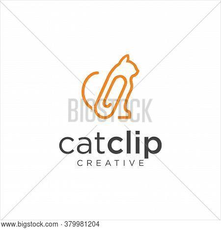 Cat Clip Logo Idea Icon Design Stock Vector. Animal Paper Clips Logo Design Template. Monogram Puss
