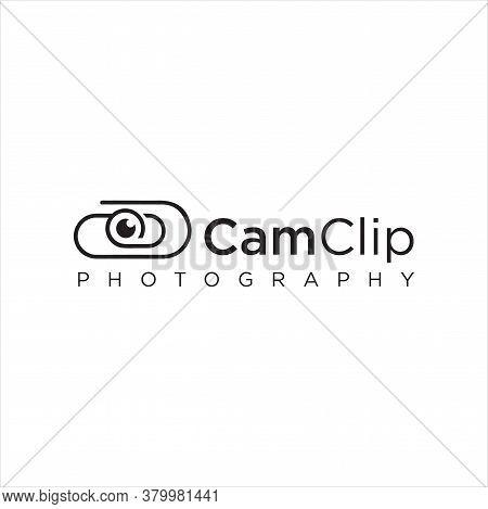Clip Camera Logo Idea Icon Design Stock Vector. Cam Paper Clips Logo Design Template. Monogram Lens
