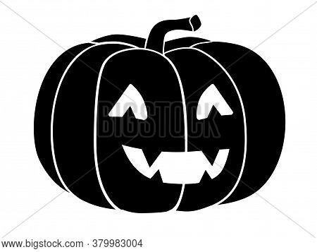 Pumpkin - Black Vector Silhouette For Pictogram Or Logo. Halloween Pumpkin With Carved Face - Sign O