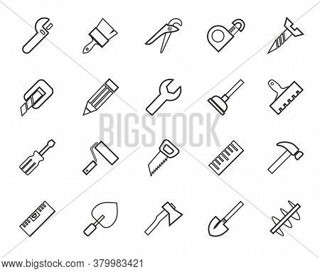 Hand Tools, Construction, Icons, Monochrome, Outline. Thin Linear Drawing. Black Icons On A White Ba