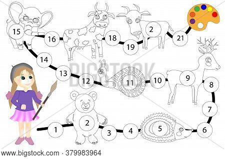 Oloring Book For Children. Board Game Color The Elephant, Cow, Goat, Snail, Deer, Bear And Hedgehog